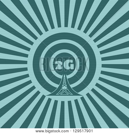 Wi Fi Network Symbol . Mobile gadgets technology relative vector image. Sun rays background. 2G text