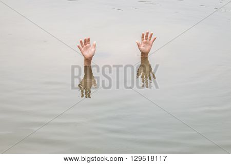 Children In Big Water Pond : Concept Drowning