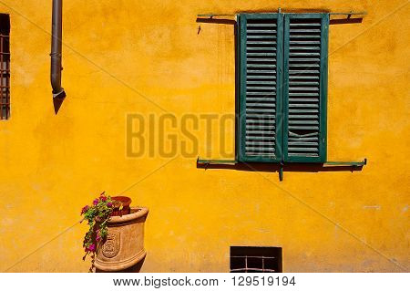Closed Window of Old Building in Italy