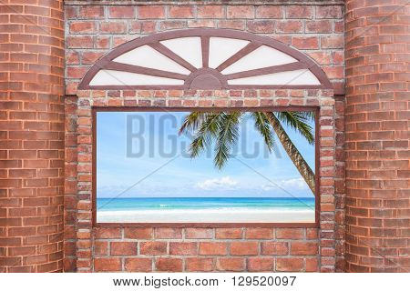 Abstract Square Red Brick Wall Texture With Windows Frame Can See Ocean