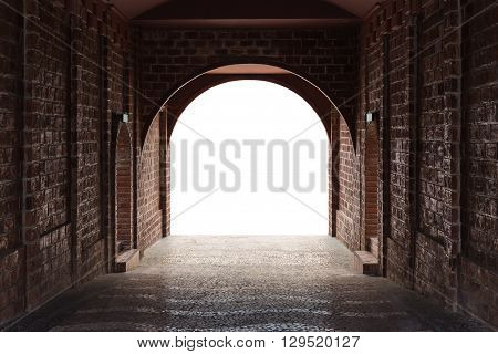 Walkway Tunnel Made By Red Brick And Middle White Isolated Space For Text And Design