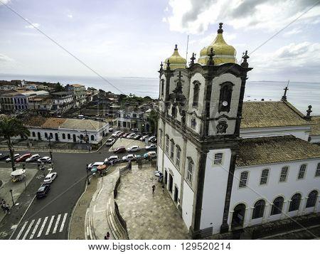 Aerial View of Igreja Nosso Senhor do Bonfim da Bahia church in Salvador Bahia Brazil