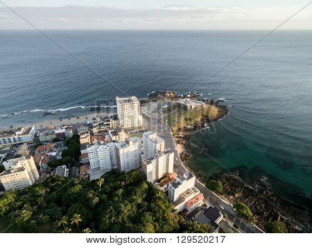 Aerial view of Barra Lighthouse, Bahia, Brazil