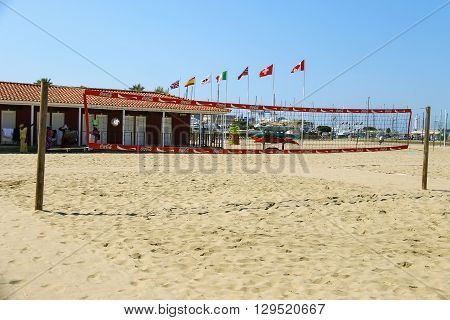 Viareggio Italy - June 28 2015: Volleyball court at the beach. Viareggio is the famous resort on the coast of the Ligurian Sea. Province Lucca Tuscany region of Italy