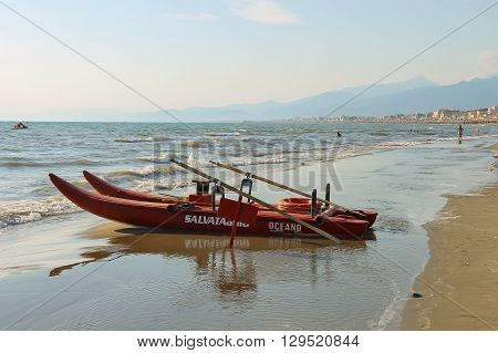 Viareggio Italy - June 28 2015: Catamaran on the beach. Viareggio is the famous resort on the coast of the Ligurian Sea