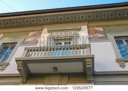 Viareggio Italy - June 28 2015: Facade with fresco of old-style design house in city centre. Viareggio is the famous resort on the coast of the Ligurian Sea