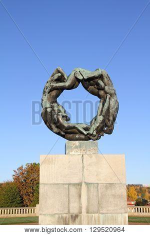OSLO - NORWAY - NOVEMBER 13: Bronze fountain in Vigeland's sculpture arrangement also called Vigeland Park on november 13 2015 in Oslo.