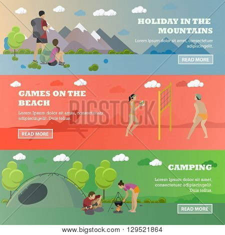 Vector set of summer recreation concept banners in flat style. Beach volleyball, forest camping, mountain hiking.