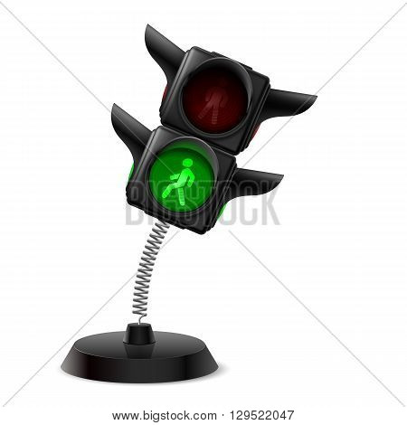 Souvenir at the spring in form traffic light on the white background