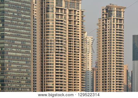 Pudong district skyscrapers in Shanghai, China. Pudong is a district of Shanghai, located east of the Huangpu River.