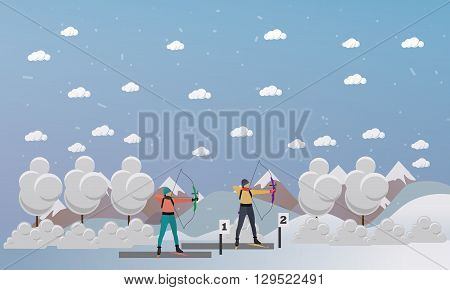 Sport shooting banner. Archery biathlon competition games vector illustration. People in shooting positions.