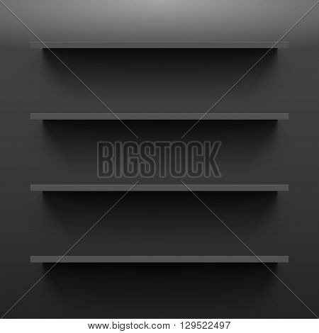 Four gorizontal black bookshelves on the dark wall