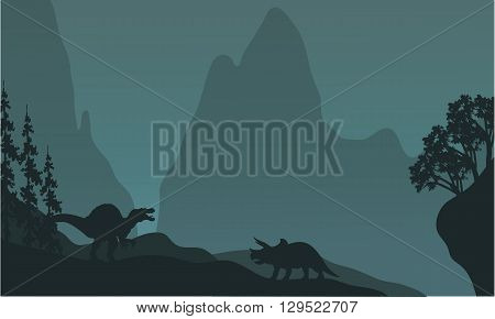 Silhouette of triceratops and spinosaurus at the night