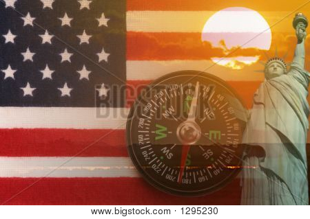 American Montage, Flag, Sunrise, Statue Of Liberty, Compass