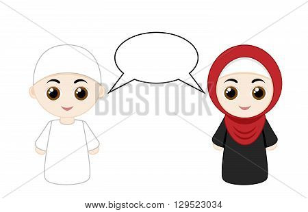 Couple cartoon people with hijabs and abayas isolated on white background. Vector illustration.