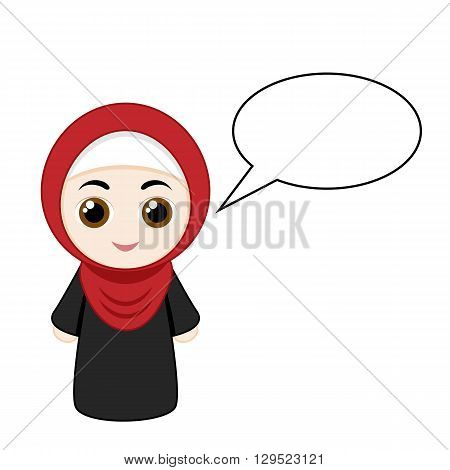 Cartoon girl with red hijab isolated on white background. Vector illustration.
