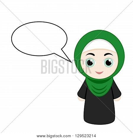 Cartoon girl with green hijab isolated on white background. Vector illustration.