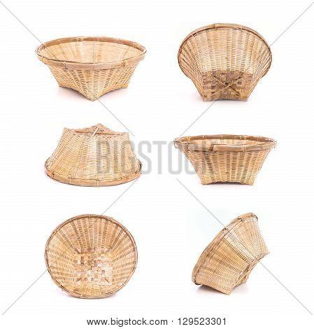 Set Of Empty Bamboo Basket Handmade Isolated On White