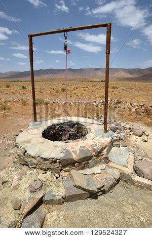 Water well in Sahara Desert Morocco North Africa