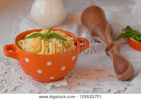 mashed potatoes on white background with vintage cloth