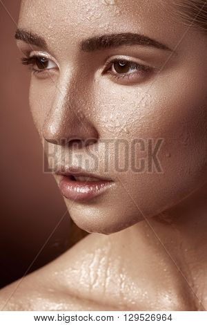 Skincare And Spa. Woman With Perfect Wet Skin Looking Away