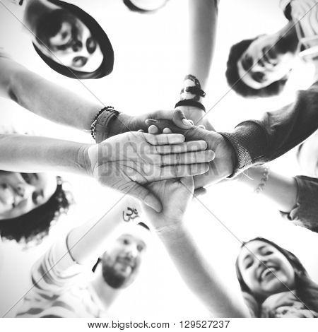 Hands Assemble Teamwork Friendship Togetherness Concept