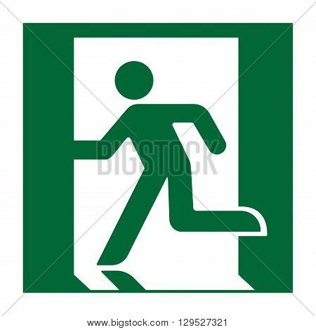 Exit sign. Emergency fire exit door and exit door. Green icon on white background. Safe condition symbol. Label with human figure. Vector illustration