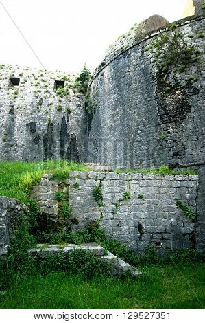 The walls of the fortress Shpanola (Montenegro, Herceg Novi)