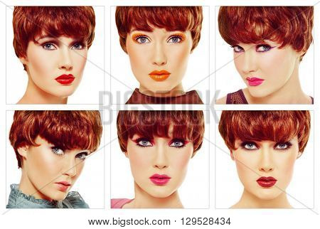 Vintage style collage with six make-up looks of the same young beautiful girl. Fashion, make-up, hair.