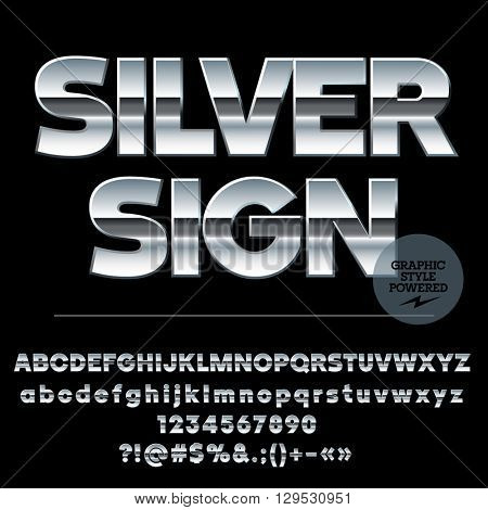 Vector set of modern silver alphabet letters, numbers and punctuation symbols. Sans ultra bold style
