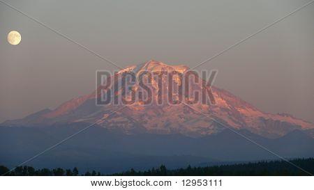 Moonrise Over Mt. Rainier