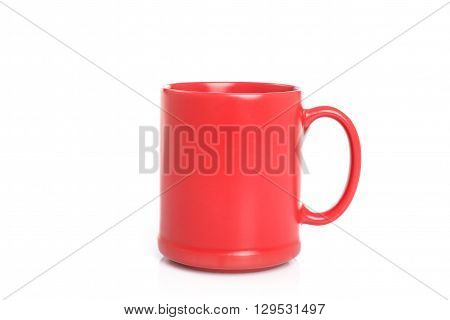 Close Up Red Ceramic Cup Isolated On White Background