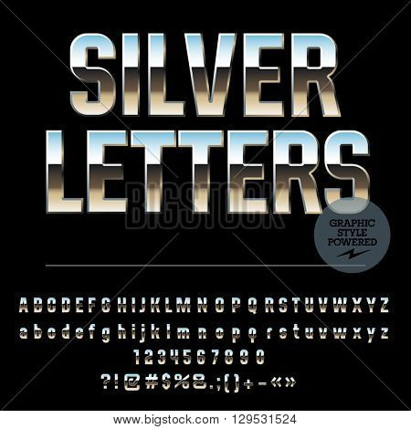 Vector set of glossy silver alphabet letters, numbers and punctuation symbols. Condense style