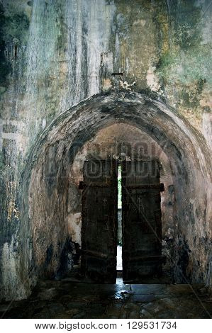 Closed doors. Shpanola Fortress (Montenegro, Herceg Novi)