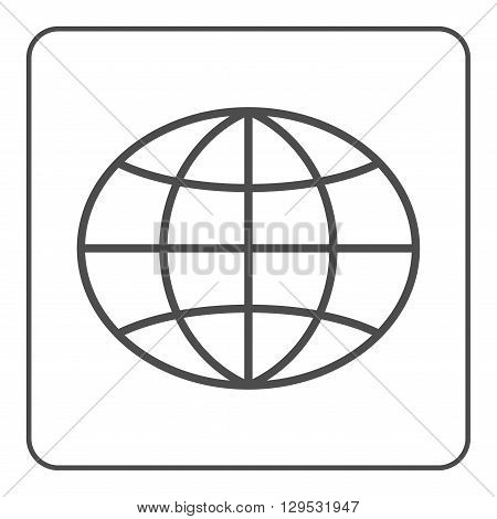 Earth globe icon. Global world sign. Symbol of network planet geography ecology geology etc. Gray map sign silhouette sphere isolated on white background. Design element. Flat Vector illustration