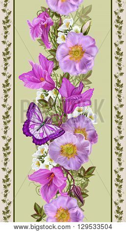 Vertical floral border. Pattern seamless. Flower garland of pink roses and crimson cyclamen. Bright butterfly.