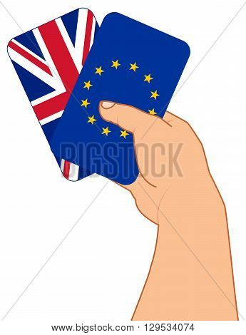 concept BREXIT hand with two cards flag GB and flag EU referendum 2016 concept vector illustration
