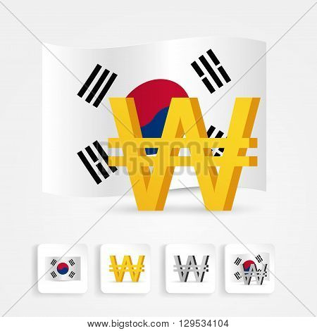 south korea won symbol with national flag. Vector illustration.