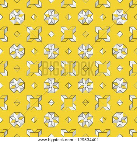 Abstract background with simple geometric shapes. Abstract geometric pattern. Vector pattern with diamond shapes and triangles. Seamless abstract background. Grey and yellow colors.
