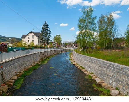 Reconstructed river bed and banks after flood. Part of small river with new rock banks reducing flood risk, Chrastava, Czech Republic