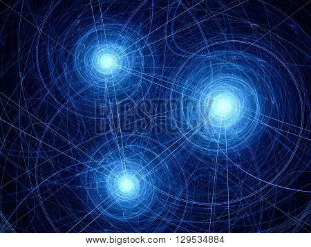 Blue glowing access points with trajectories new technology computer generated abstract background