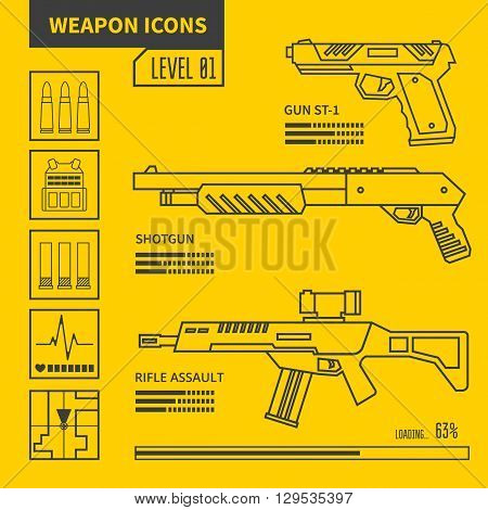 Weapon vector line icons. Design elements for interface.