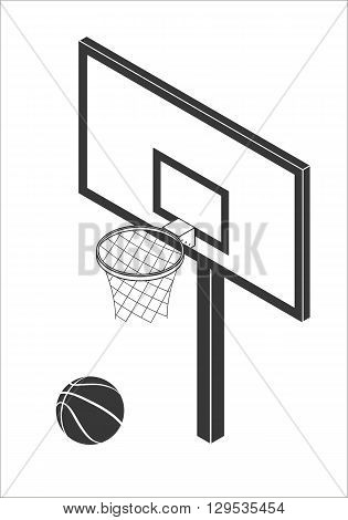 Isometric Basketball backboard with ball. Vector icon