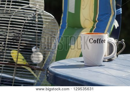 A coffee cup in focus on a plastic table and budgie in a bird cage in the blurred background lifestyle horizontal shot