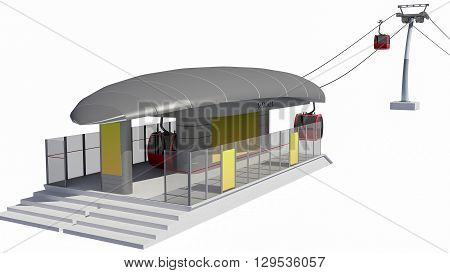 3D illustration of Cableway Station - Isolated on white