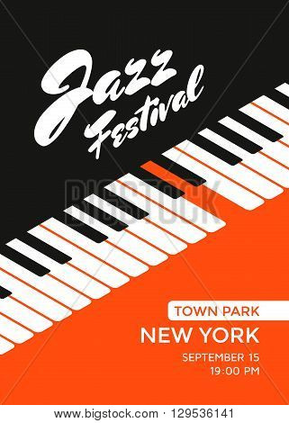 Jazz music festival poster design template. Piano keys. Vector illustration placard for jazz concert.
