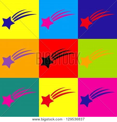 Shooting star icon. Pop-art style colorful icons set.