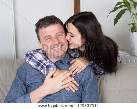 Portrait Of A Happy Man Smiling With Young Woman