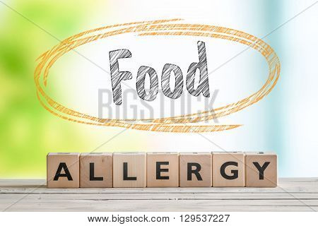 Food Allergy Sign On A Table