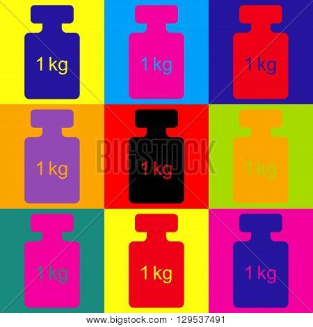 Weight simple Icon. Pop-art style colorful icons set.